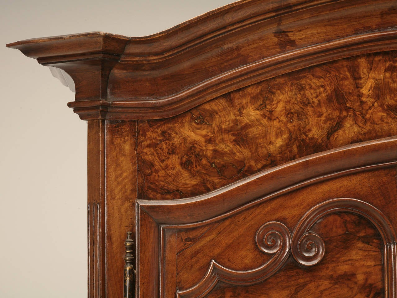 Hand-Crafted Armoire, French Burl Walnut in the Style of Louis XV Painted and Gilded Hinges