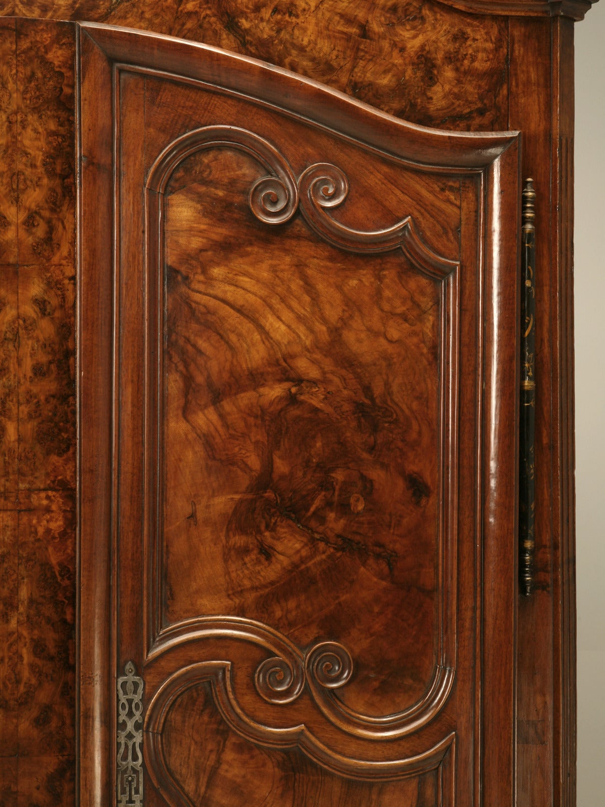 18th Century Armoire, French Burl Walnut in the Style of Louis XV Painted and Gilded Hinges