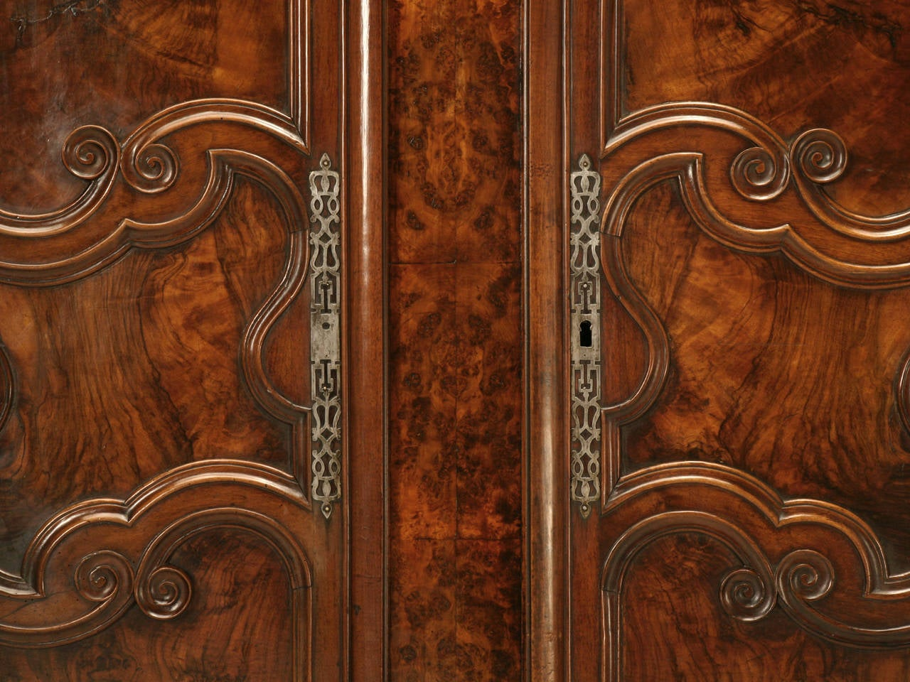 Armoire, French Burl Walnut in the Style of Louis XV Painted and Gilded Hinges 1