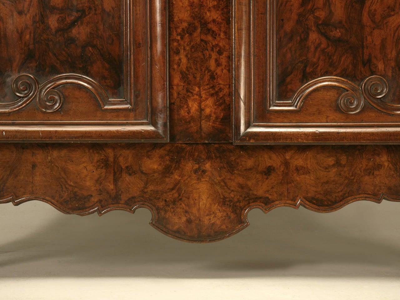 Armoire, French Burl Walnut in the Style of Louis XV Painted and Gilded Hinges 2