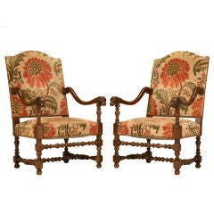 Magnificent Pair of Antique French Throne Chairs w/Rams