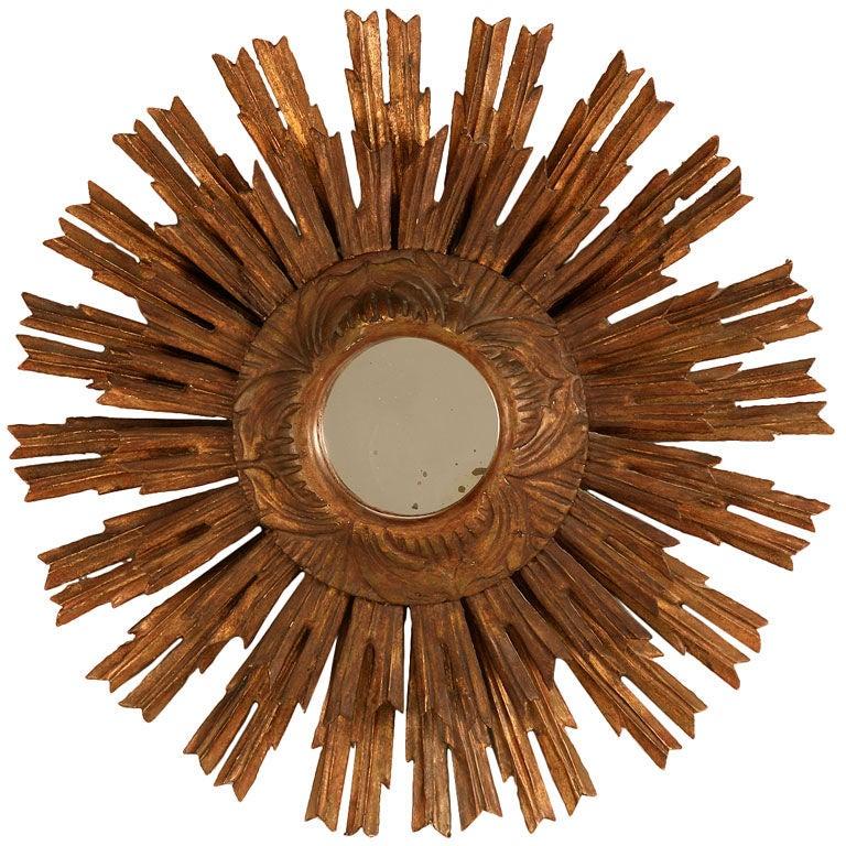 Extraordinary Antique Italian Carved Double Sunburst Mirror