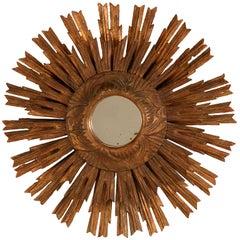 Antique Italian Carved Sunburst Mirror