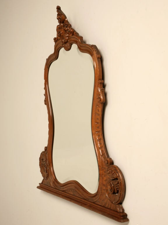 Superb antique french walnut rococo style wall mirror at for Antique style wall mirror