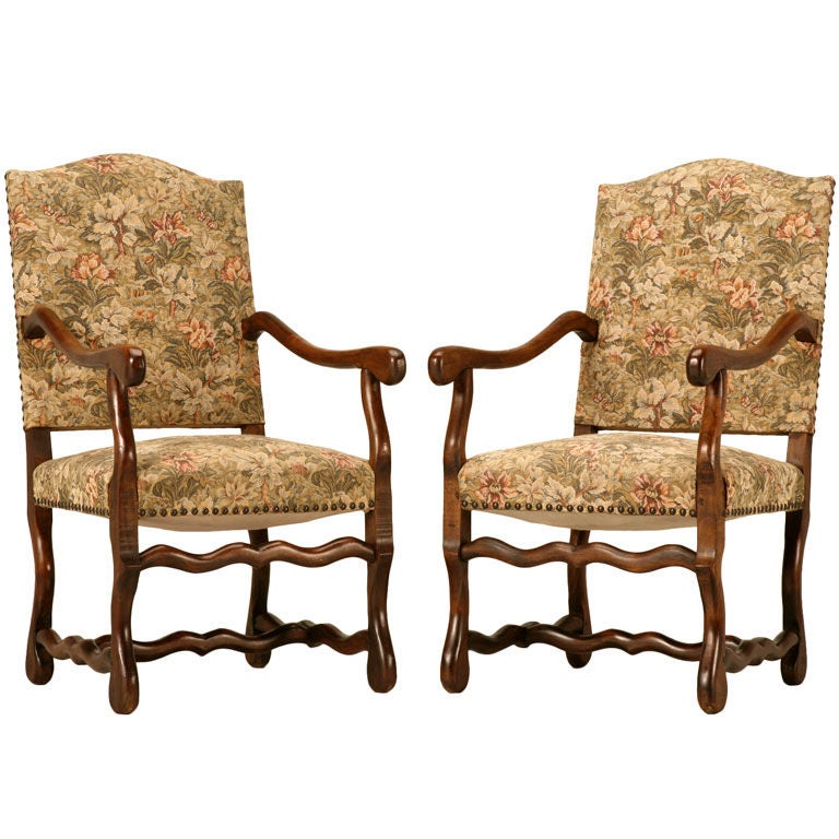 Gorgeous Pair of Vintage French Os de Mouton Throne Chairs