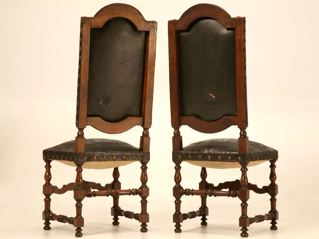 Special set of 6 tall spanish hand tooled leather side for Dining room furniture specials