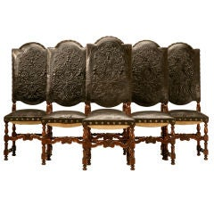 Spanish Hand-Tooled Leather Side Chairs