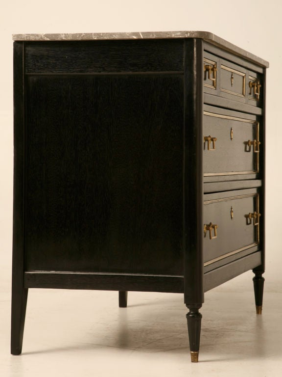 19th Century Outstanding Ebonized Antique French Louis XVI Commode w/Marble For Sale