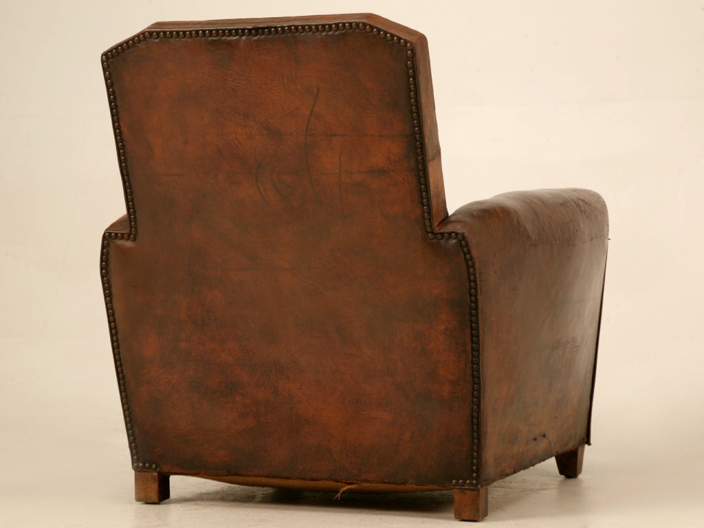 Original French Art Deco Leather Club Chair w/Canted Corners image 10