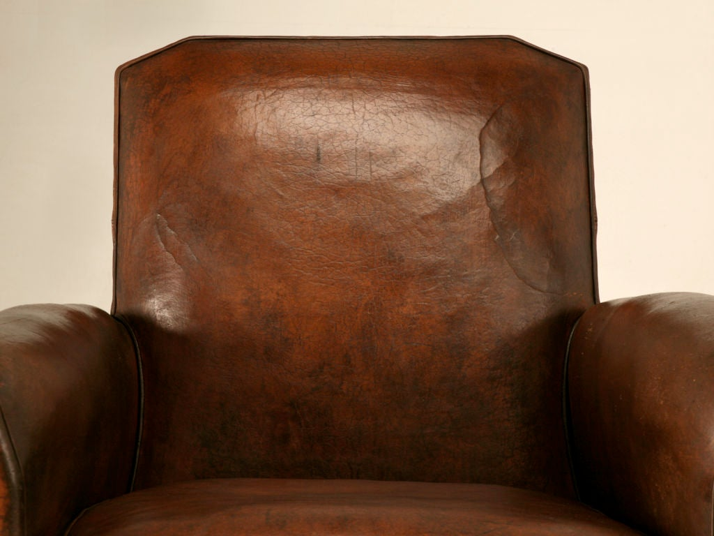 Original French Art Deco Leather Club Chair w/Canted Corners image 2