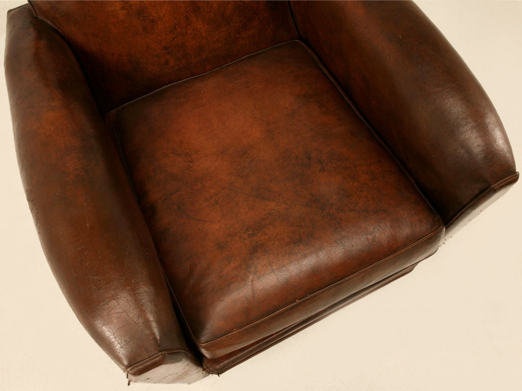 Original French Art Deco Leather Club Chair w/Canted Corners image 5