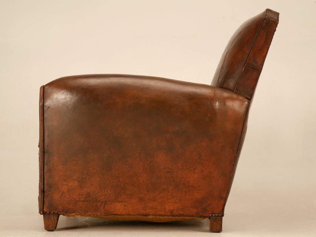Original French Art Deco Leather Club Chair w/Canted Corners image 9