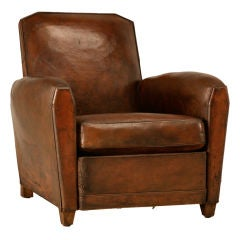 Original French Art Deco Leather Club Chair w/Canted Corners thumbnail 1