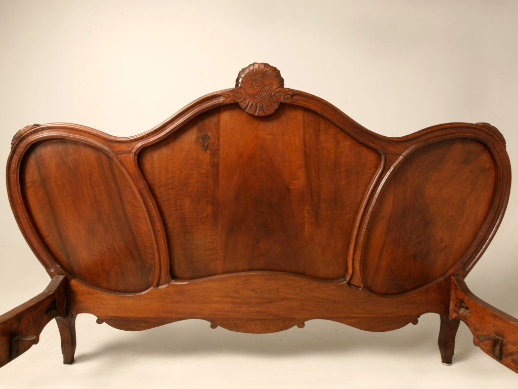 French Baroque Bed Of Opulent Antique French Rococo Figured Walnut Bed At 1stdibs