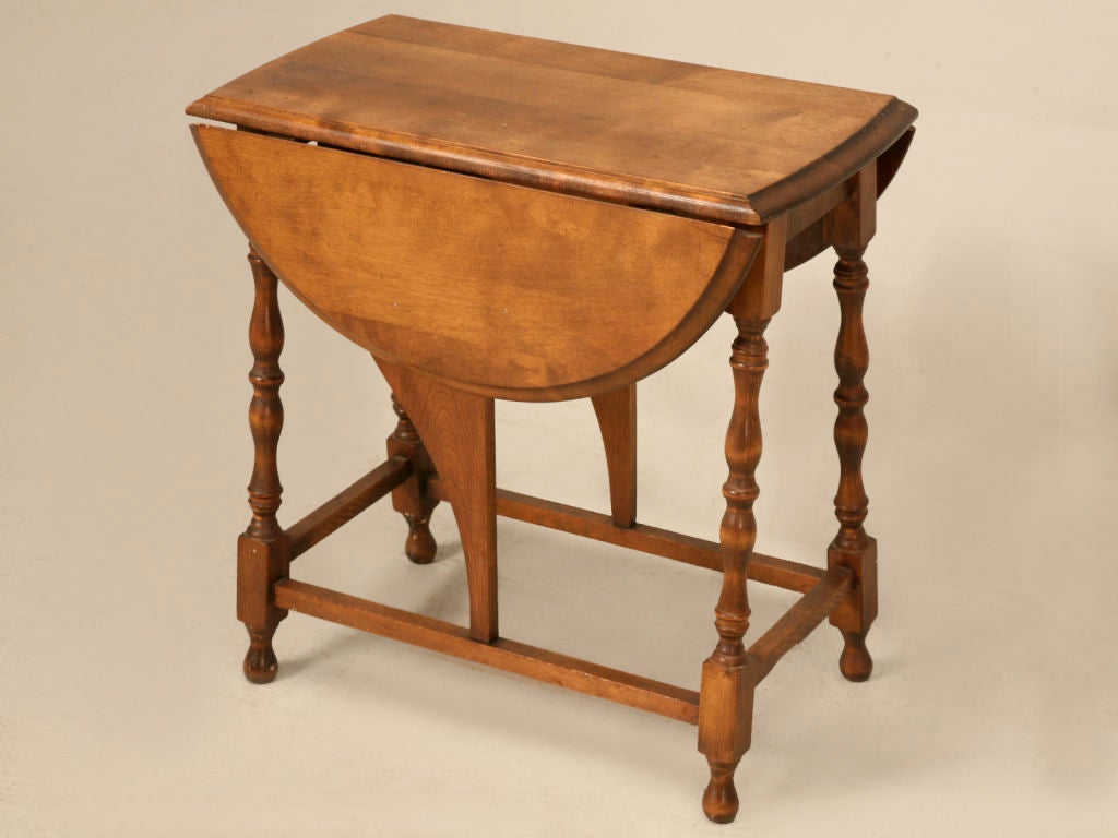Awesome Petite Vintage Solid Oak Drop Leaf Table With Decorative Turned  Legs Joined By A Stretcher