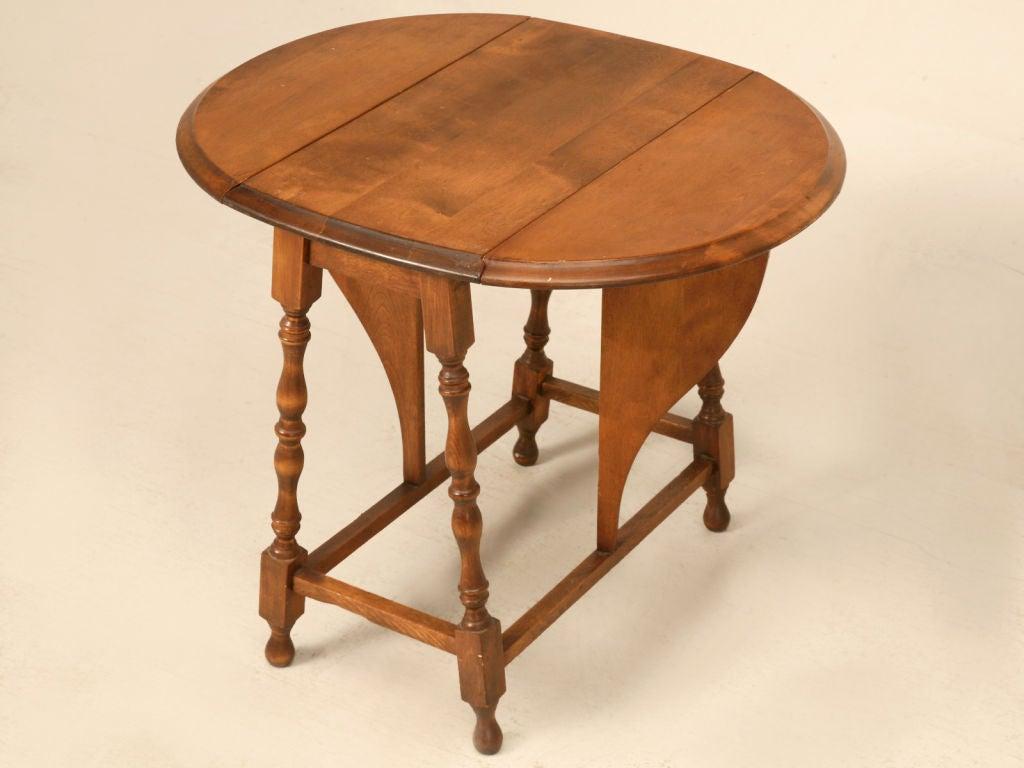 Petite Vintage Oak Drop Leaf Side End Table At 1stdibs