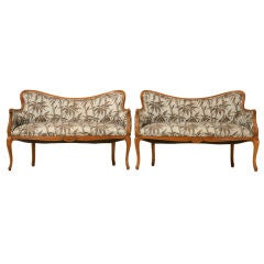 Petite Pair of Vintage French Louis XV Style Settees
