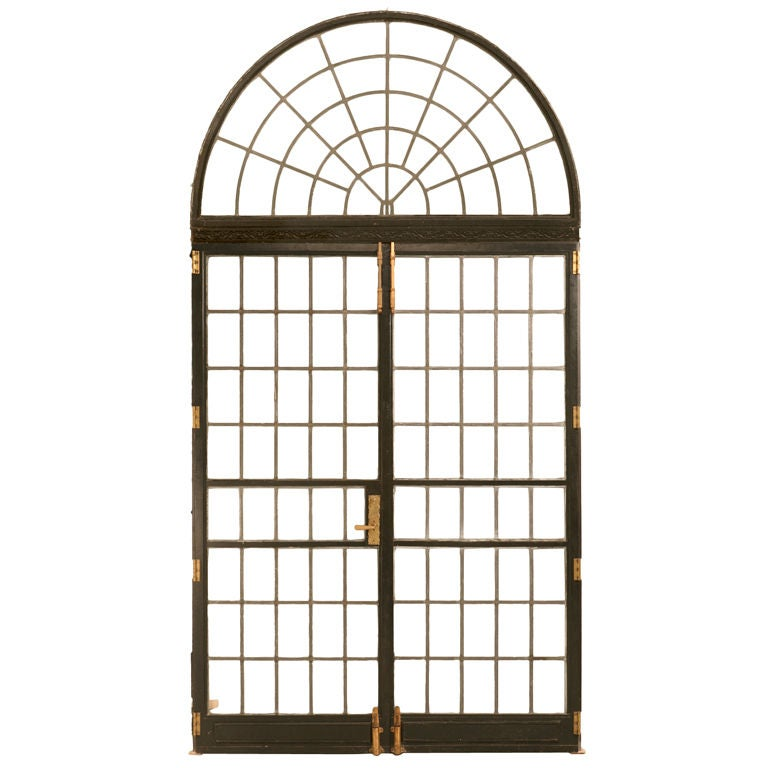 Pair of bronze palladian leaded glass french doors w for French doors no glass