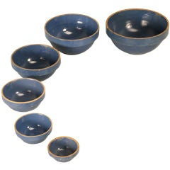 Set of Six Vintage American Pottery Dutch Blue Nesting Bowls