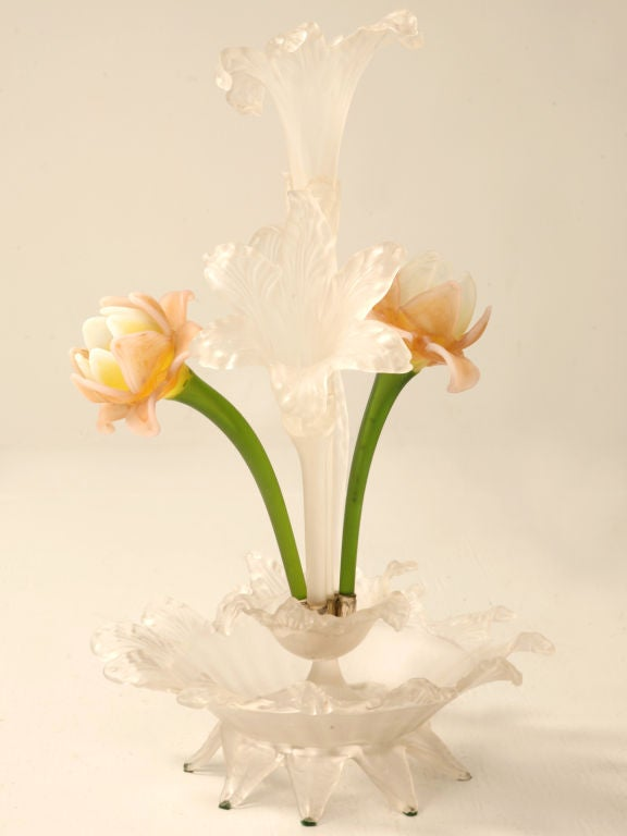 Exquisite Antique French Frosted And Art Glass Epergne