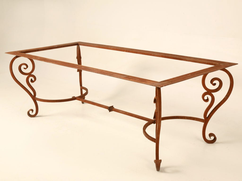 Vintage Scrolled Hand Wrought Iron Table Base W Rusty
