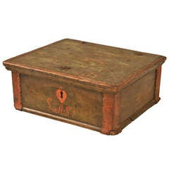 Outstanding 18th C Danish Oak Letter Bible Box Retaining