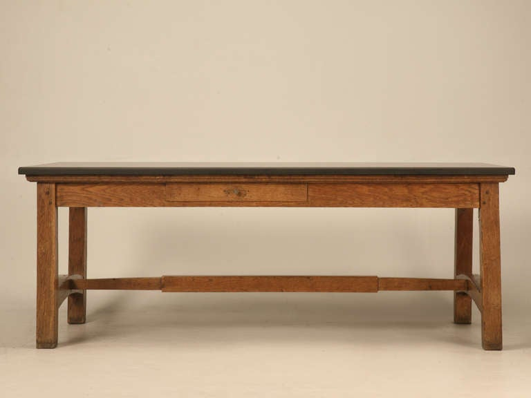 Early 19th C French Solid Oak Provencal Bakery Table W Slate Top For
