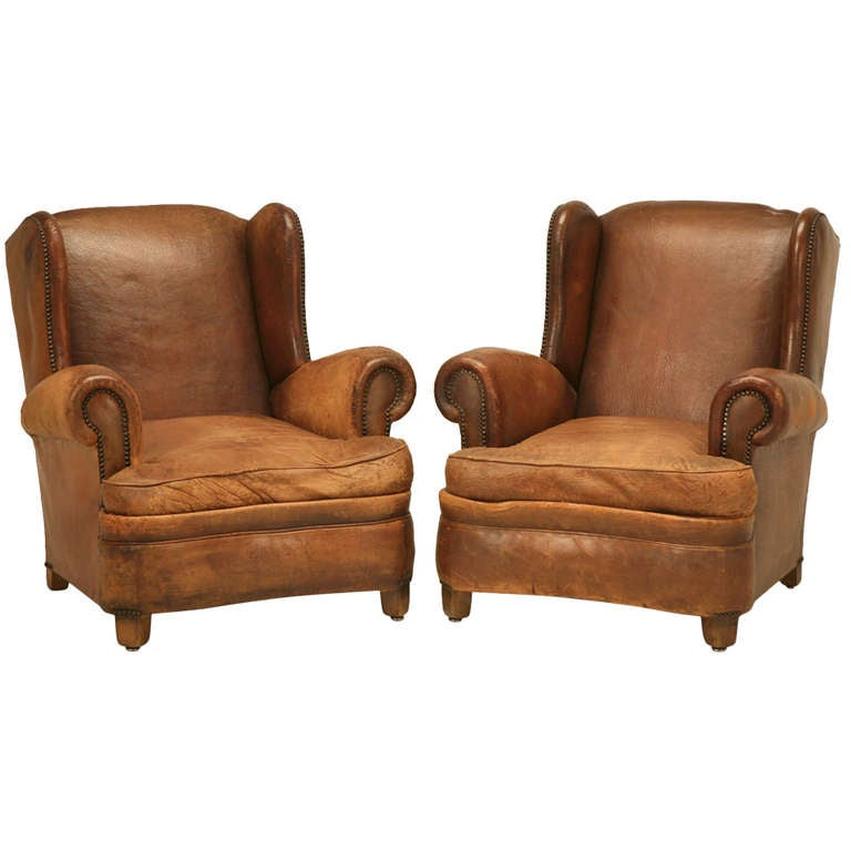 French Orignal Leather Club Chairs Circa 1940 At 1stdibs