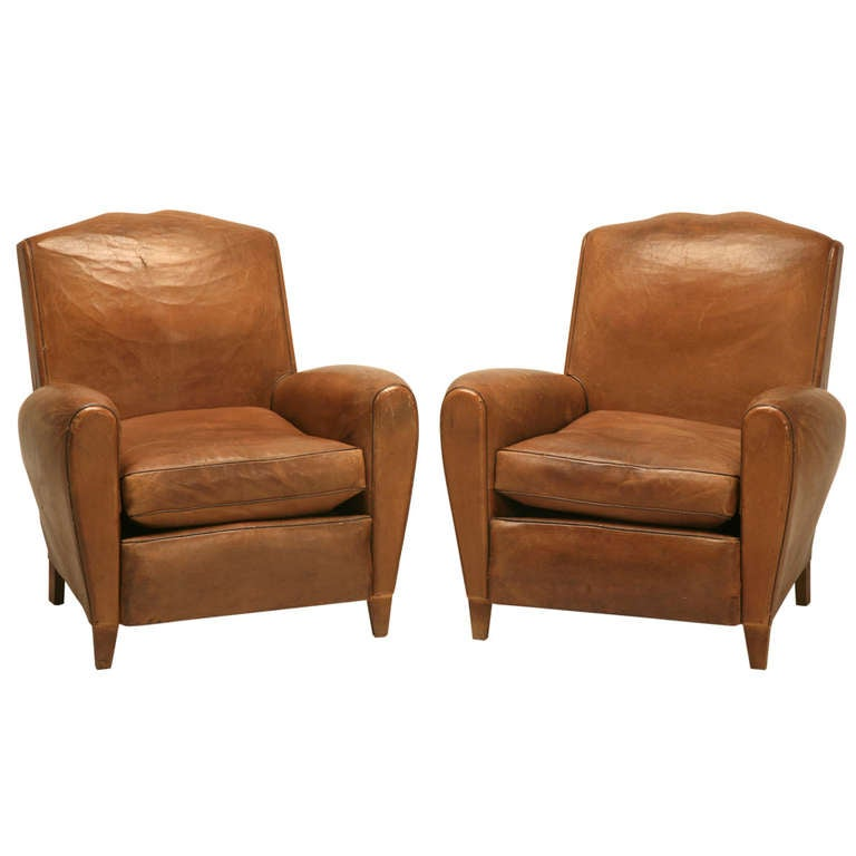 Pair of French Leather Club Chairs, circa 1930s