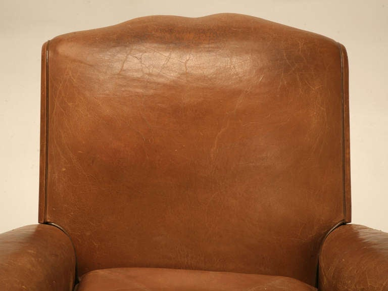 Pair of French Leather Club Chairs, circa 1930s In Good Condition For Sale In Chicago, IL