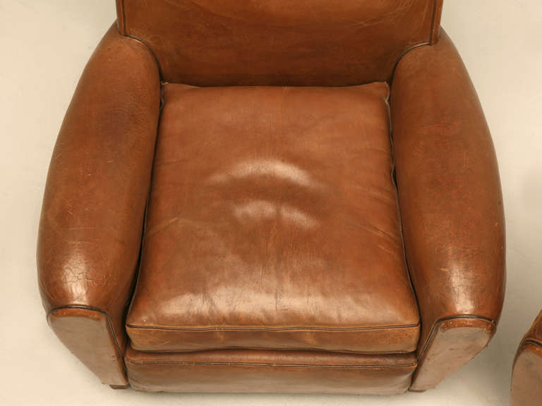 Mid-20th Century Pair of French Leather Club Chairs, circa 1930s For Sale