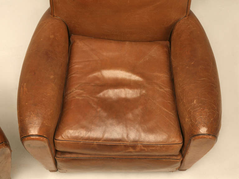 Pair of French Leather Club Chairs, circa 1930s For Sale 1