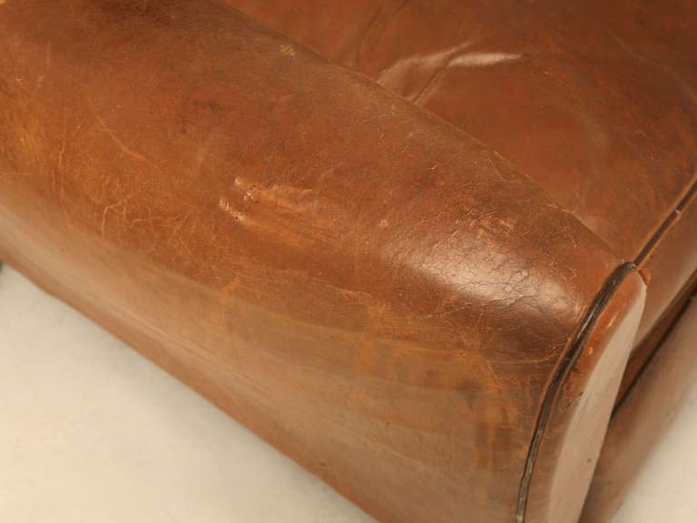 Pair of French Leather Club Chairs, circa 1930s For Sale 2