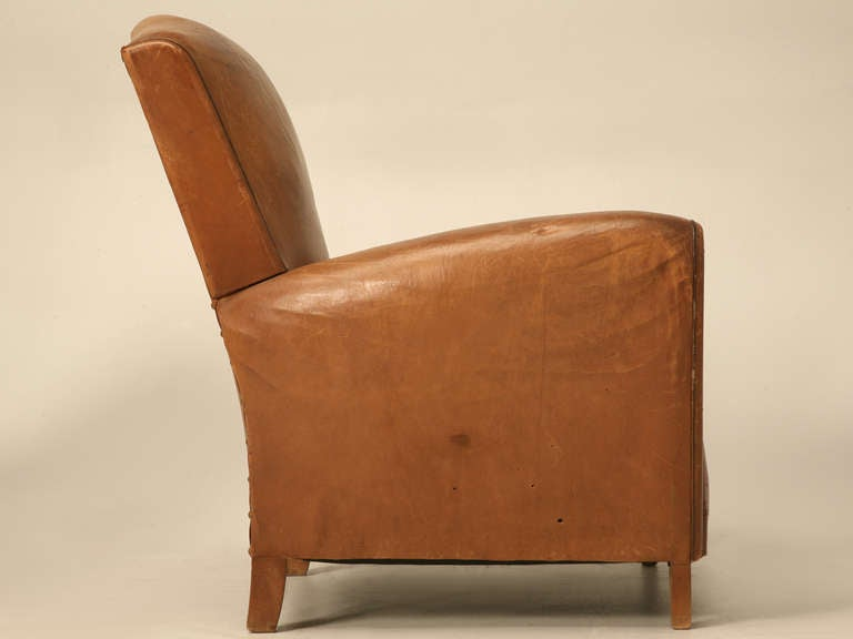 Pair of French Leather Club Chairs, circa 1930s For Sale 5
