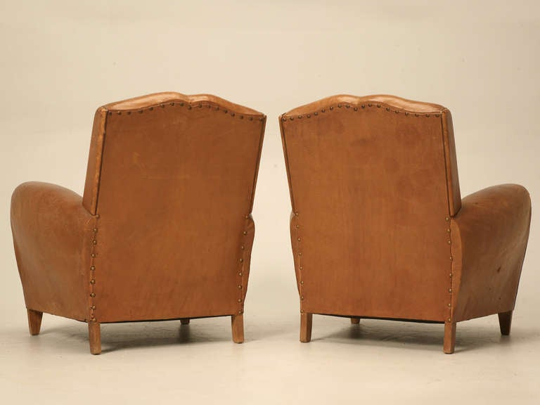 Pair of French Leather Club Chairs, circa 1930s For Sale 6