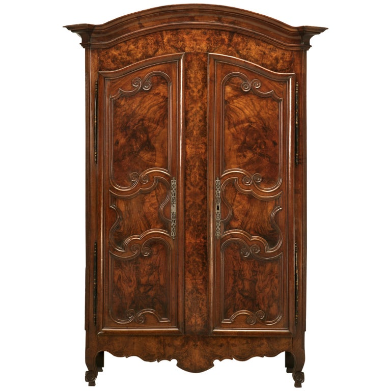 Armoire, French Burl Walnut in the Style of Louis XV Painted and Gilded Hinges