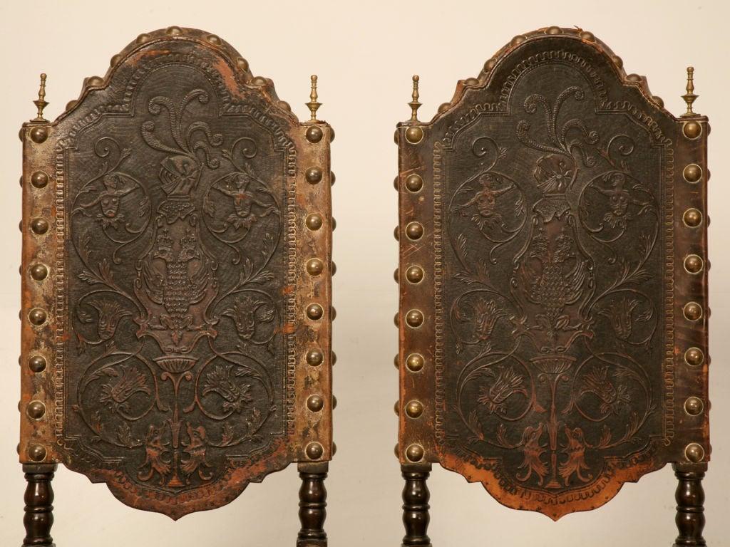 Dynamite Set Of 6 Original Antique Spanish Tooled Leather