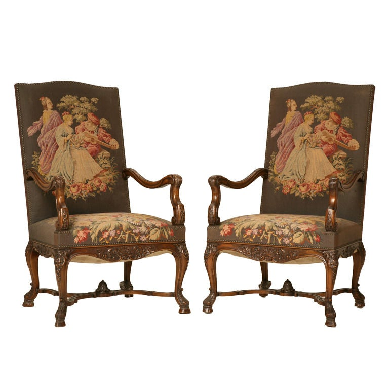 Magnificent pair of antique french rococo throne chairs at for Antique looking chairs