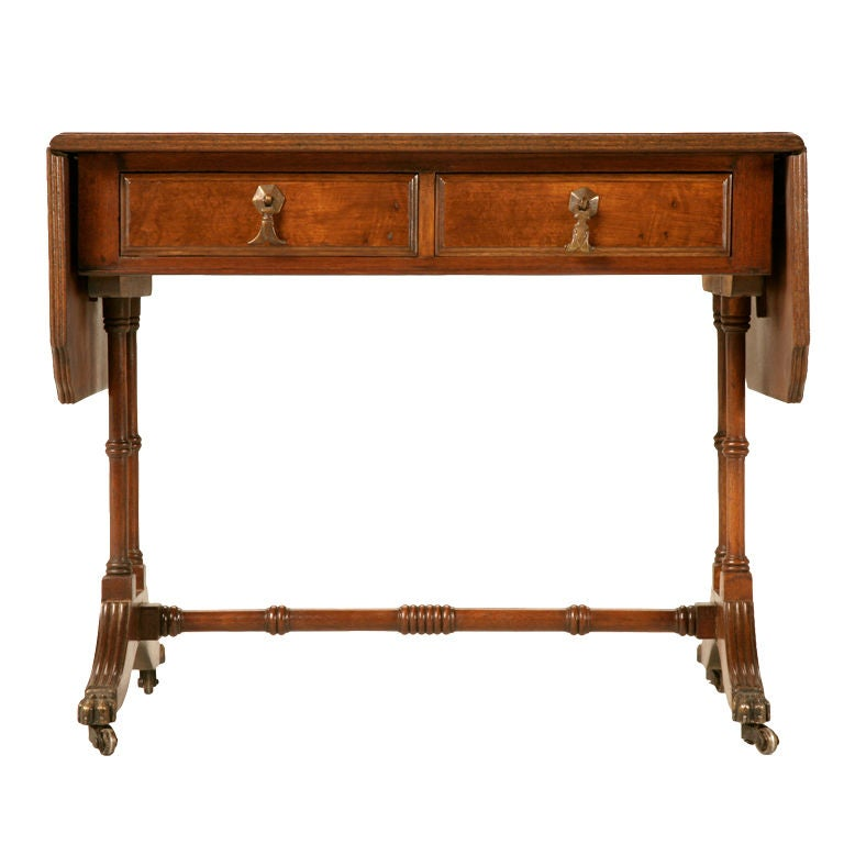 Antique Coffee Tables With Drawers: Petite Vintage English Mahogany Drop Leaf Coffee Table W