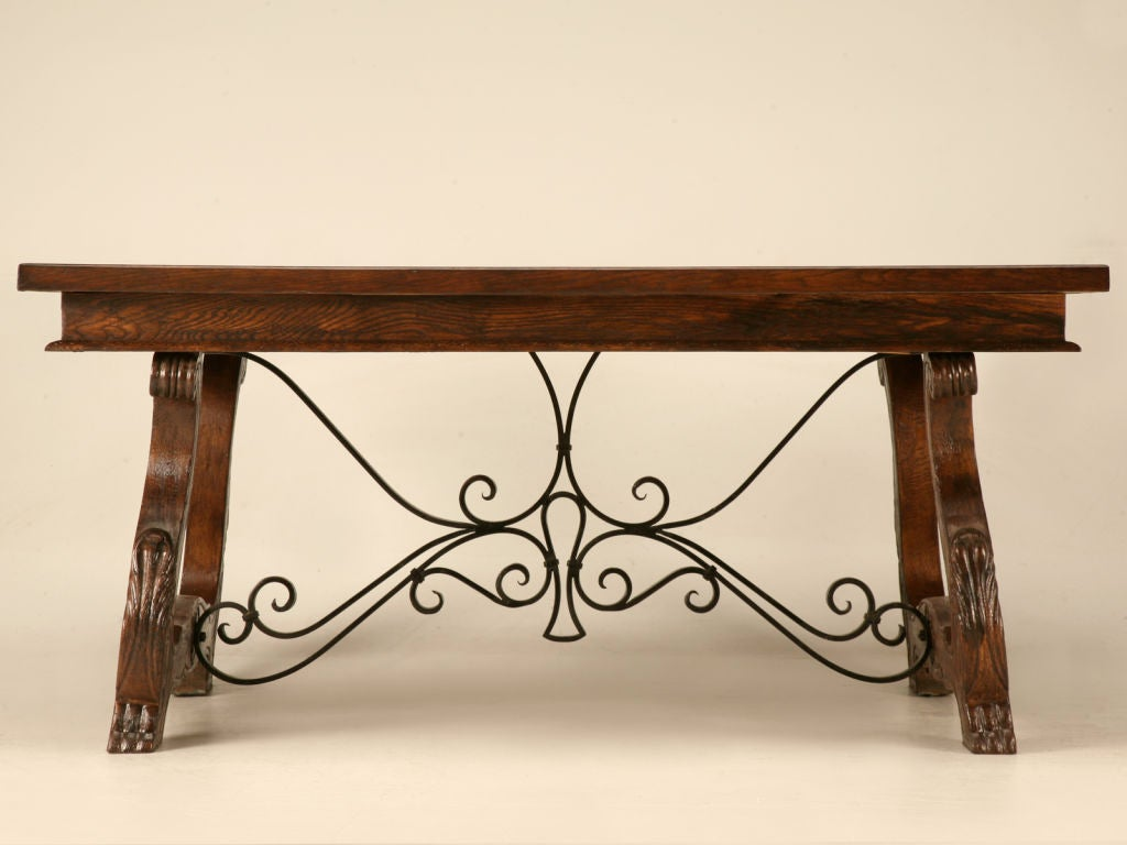 Outstanding Vintage Spanish Oak Draw Leaf Dining Table At 1stdibs. Full resolution  photograph, nominally Width 1024 Height 768 pixels, photograph with #9E6B2D.