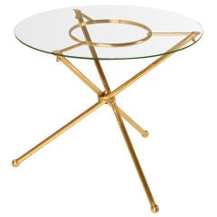 French 1940's Brass & Glass Neoclassical Table