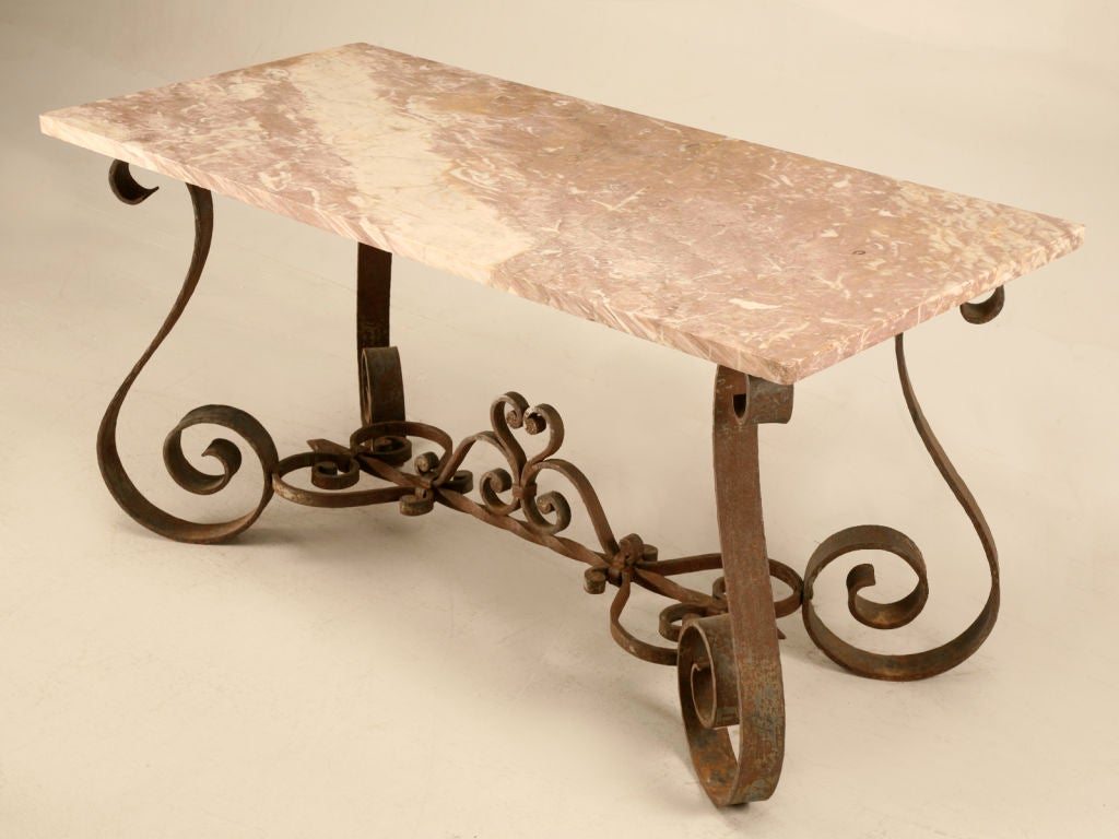Vintage French 50 S Iron And Stone Console Or Sofa Table