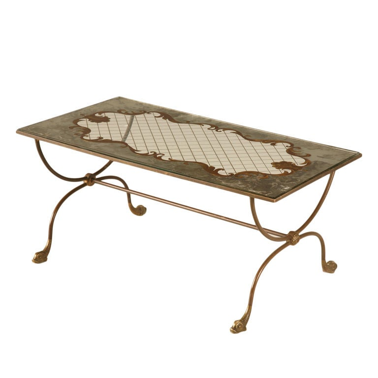 French 1940 39 S Eglomise Cocktail Or Coffee Table W Fish Feet For Sale At 1stdibs