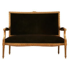 Spectacular Antique French Louis XVI Gilt Settee w/Mohair