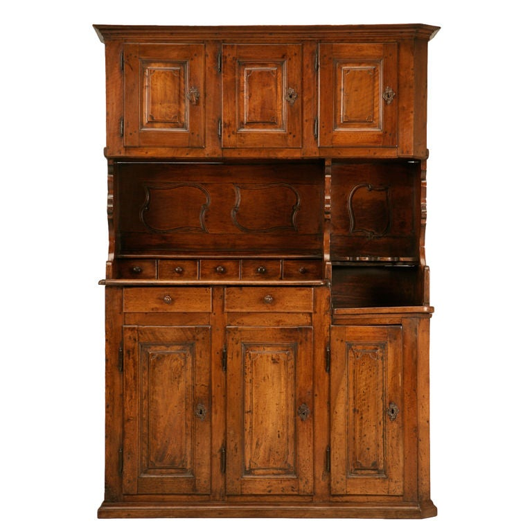 petite original antique french walnut 3 over 3 cupboard buffet at 1stdibs. Black Bedroom Furniture Sets. Home Design Ideas
