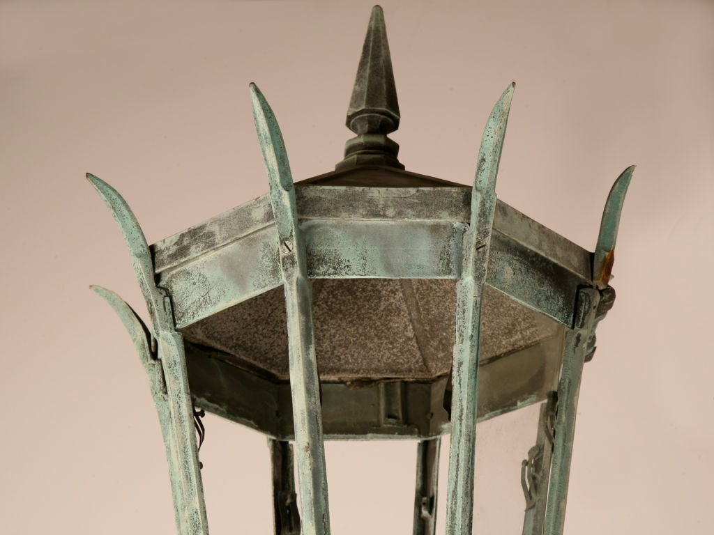 1 of 3--Original 14' Antiq. Cast Iron Street Lamps w/Copper Tops image 2