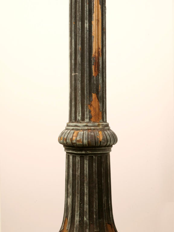 1 of 3--Original 14' Antiq. Cast Iron Street Lamps w/Copper Tops 4