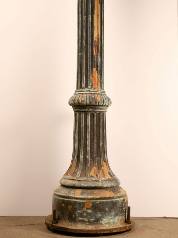 1 of 3--Original 14' Antiq. Cast Iron Street Lamps w/Copper Tops image 6