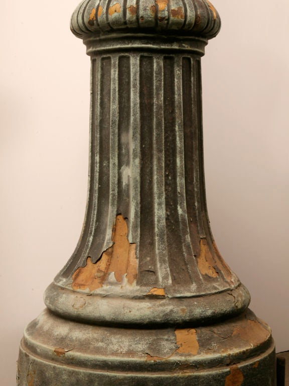 1 of 3--Original 14' Antiq. Cast Iron Street Lamps w/Copper Tops image 7