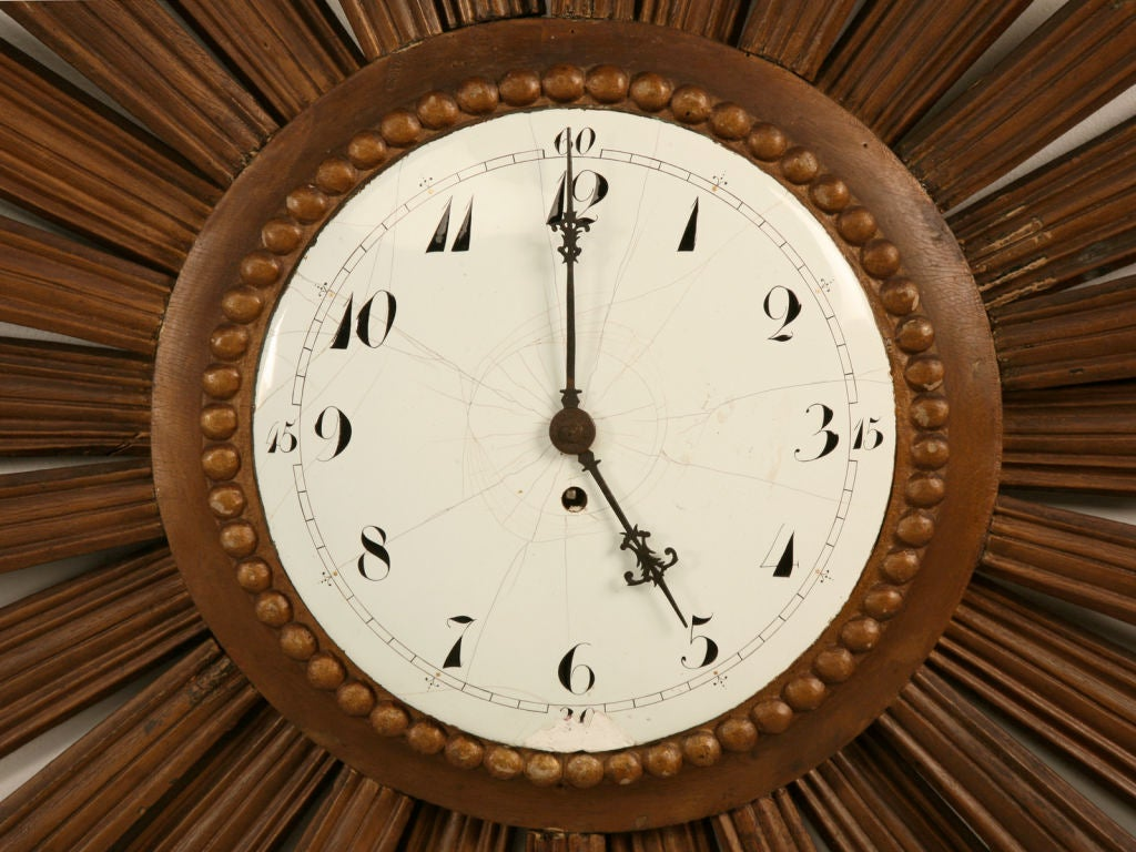 amazing vintage french sunburst clock with porcelain face